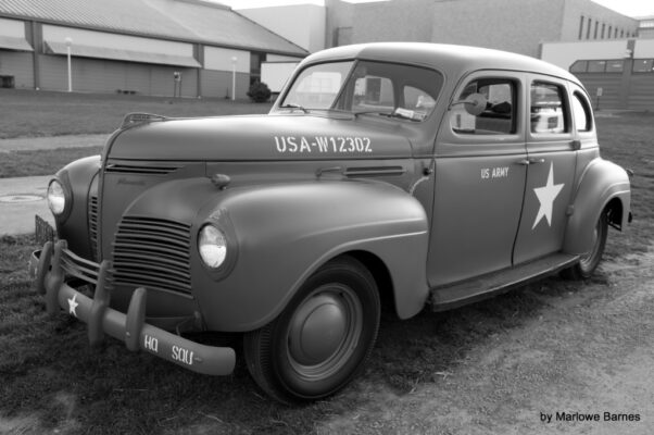 1940's Plymouth painted as WWII U.S. Army Staff Car