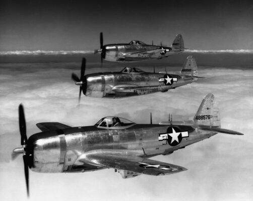 P-47 Thunderbolts in Flight