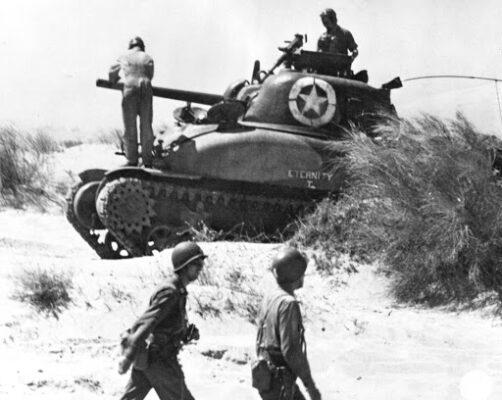 US M4 Sherman tank with white star and circle identifier symbol